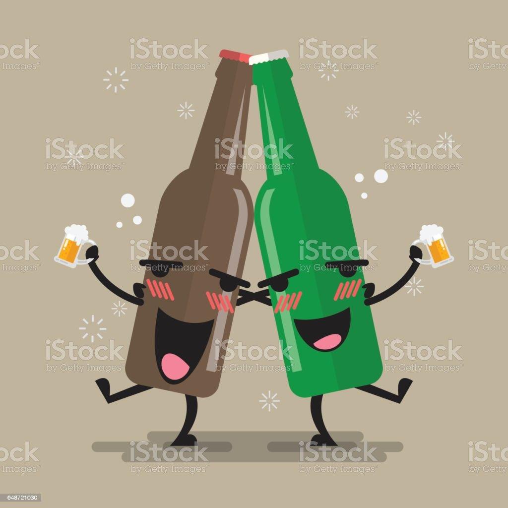 Two drunk beer glasses character vector art illustration