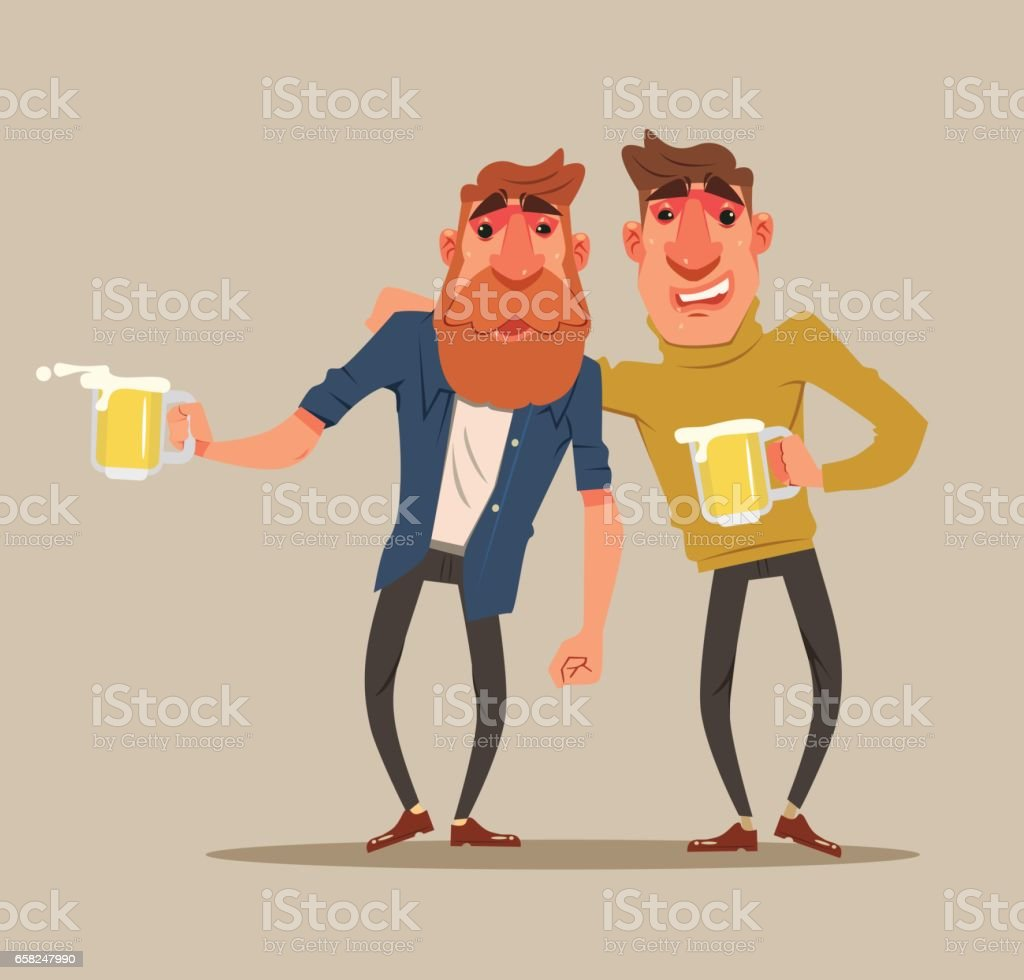 Two drunk friends men characters have fun vector art illustration