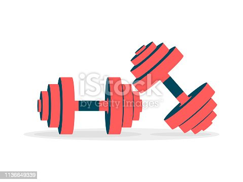 Two dumbbell icons on a white background. Vector illustration
