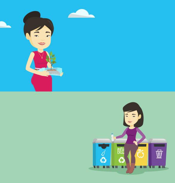 zwei ökologische banner mit platz für text - altglas stock-grafiken, -clipart, -cartoons und -symbole