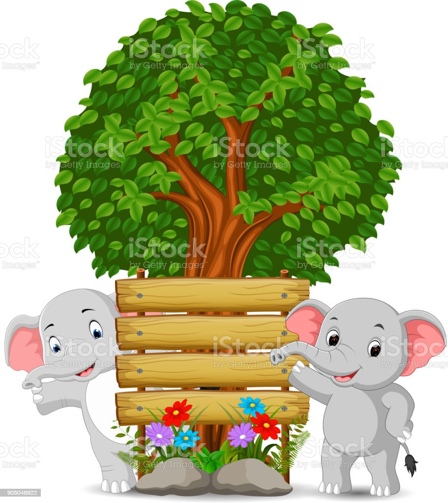 two elephant in front of an empty wooden signboard vector art illustration