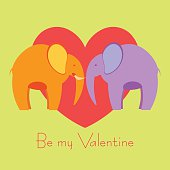 Two elephants in love valentine's day card