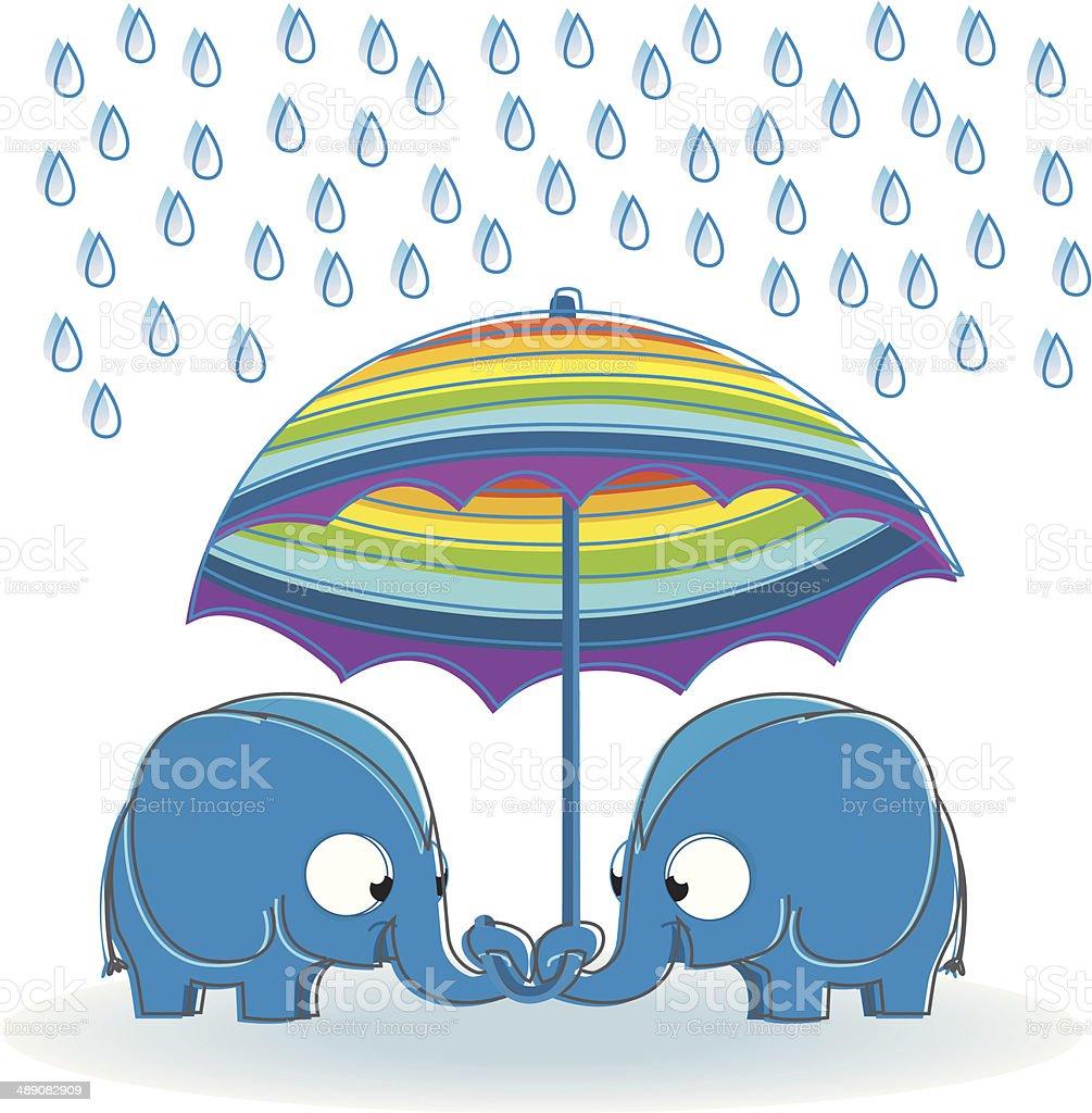 two elephants under an umbrella. royalty-free stock vector art