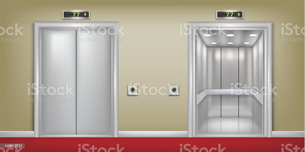 Two elevator background with closed and open door. vector art illustration