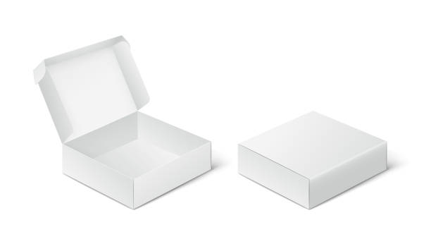 ilustrações de stock, clip art, desenhos animados e ícones de two empty closed and open packing boxes, box mockup on white background. - packaging