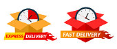 Two express delivery icon. Delivery concept. Vector illustration. Flat design.
