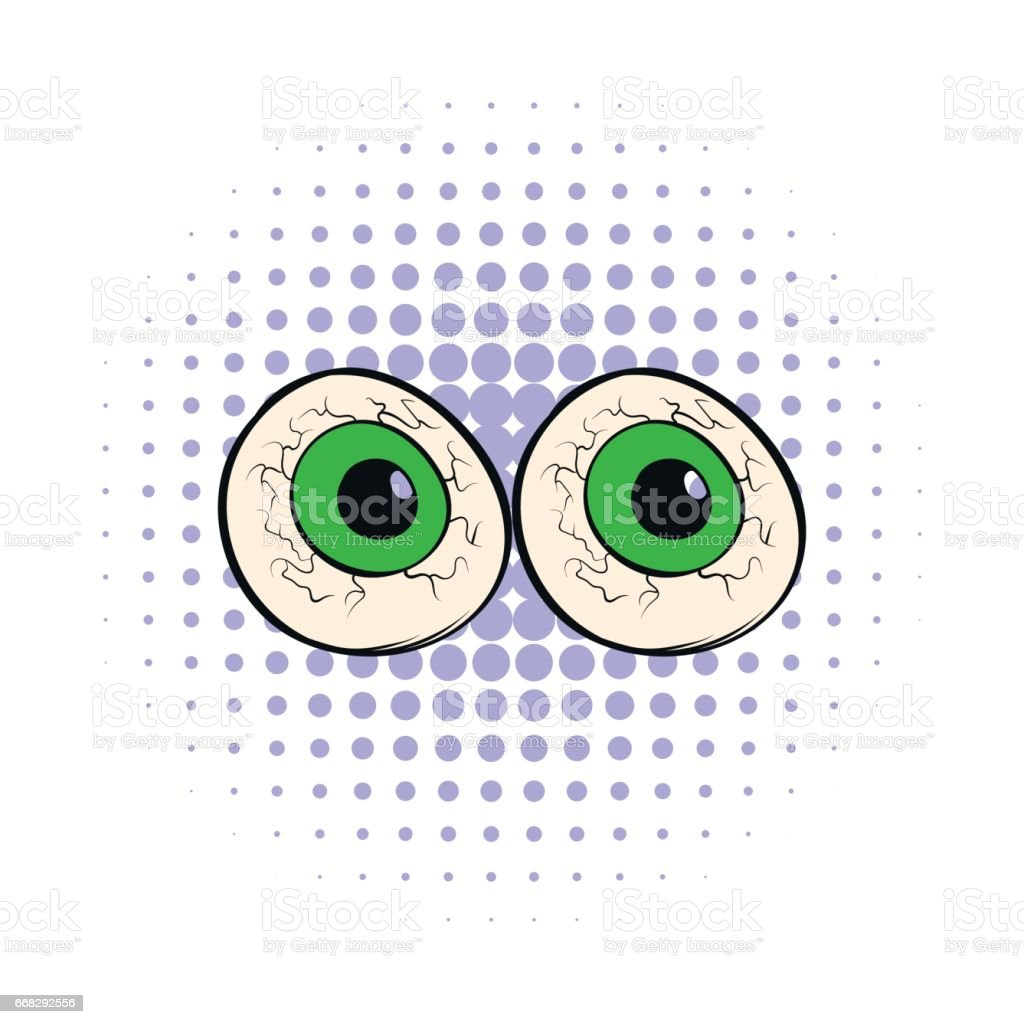 Two eyeballs icon in comics style vector art illustration