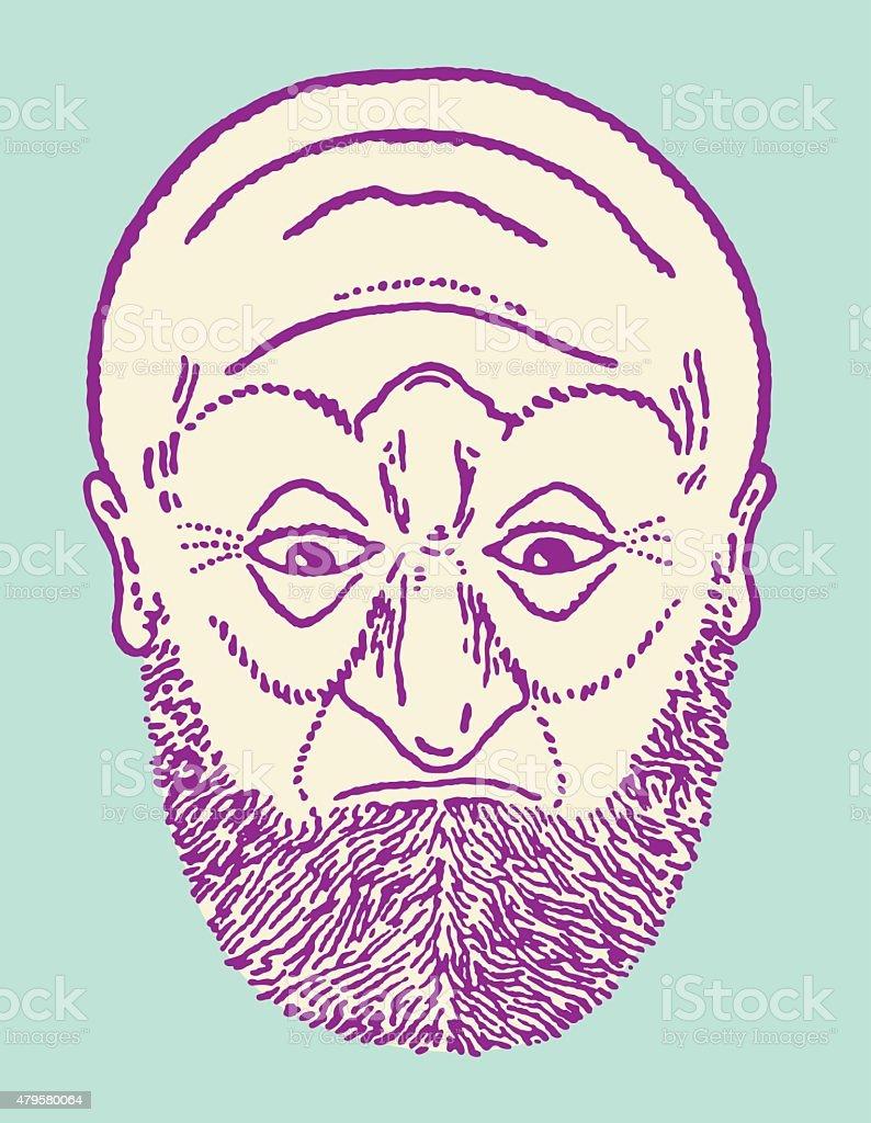 Two Faced Bearded Man vector art illustration