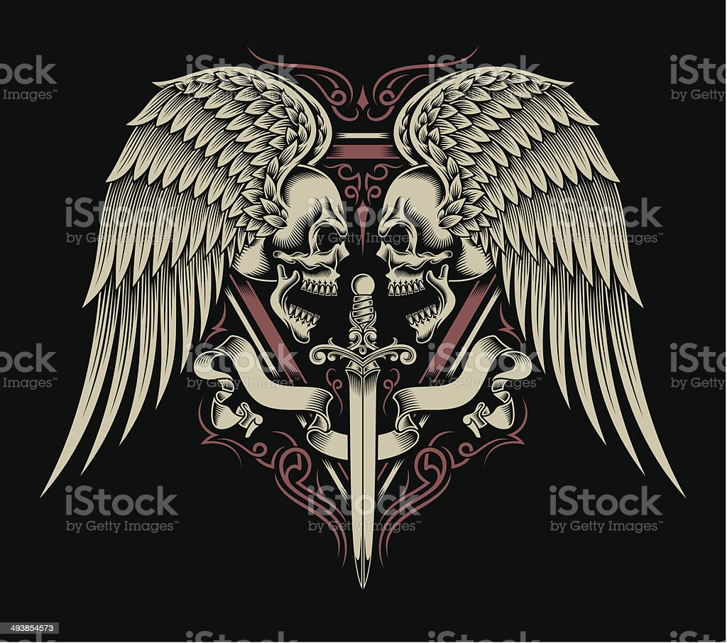 Two Faced Skull With Wings and Sword vector art illustration