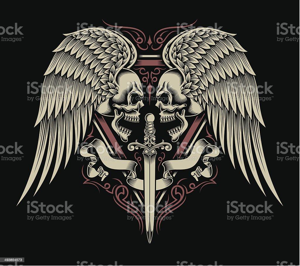 Janusköpfig Totenkopf mit Flügeln und Schwert – Vektorgrafik