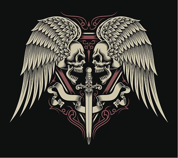 illustrations, cliparts, dessins animés et icônes de personnalité double motif de crâne avec ailes et épée - tatouages d'ailes