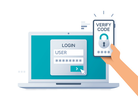Two Factor Multi-Factor Authentication Security Concept