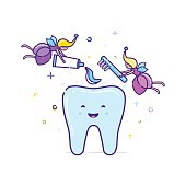 Two fairies clean the tooth with a toothbrush. Vector illustration