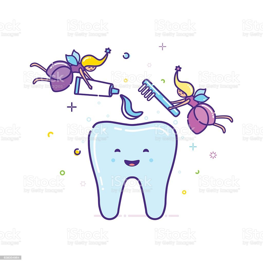 Two fairies clean the tooth with a toothbrush. Vector vector art illustration