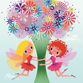 Fairies are Holding a Branch of Flowers. AI EPS 10. Use transparency.