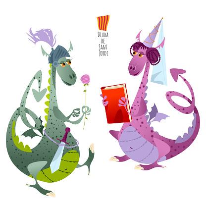"Two fairy-tale dragons. Diada de Sant Jordi (the Saint George""u2019s Day). Traditional festival in Catalonia, Spain. Dia del llibre (The Day of the Book)."