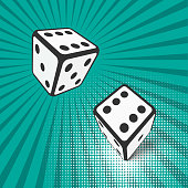 Two falling dice. Vector illustration. Eps 10.