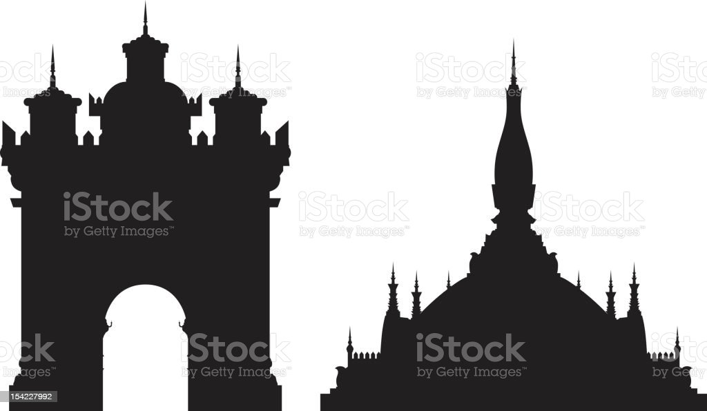 Two Famous Vientiene Monuments royalty-free stock vector art