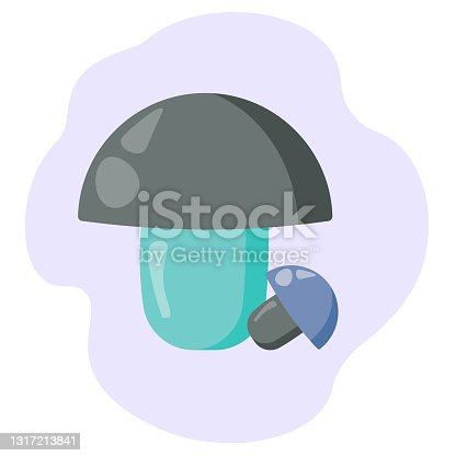 istock Two fantasy mushrooms in a cartoon style, unusual cap mushrooms in blue-gray shades for design 1317213841