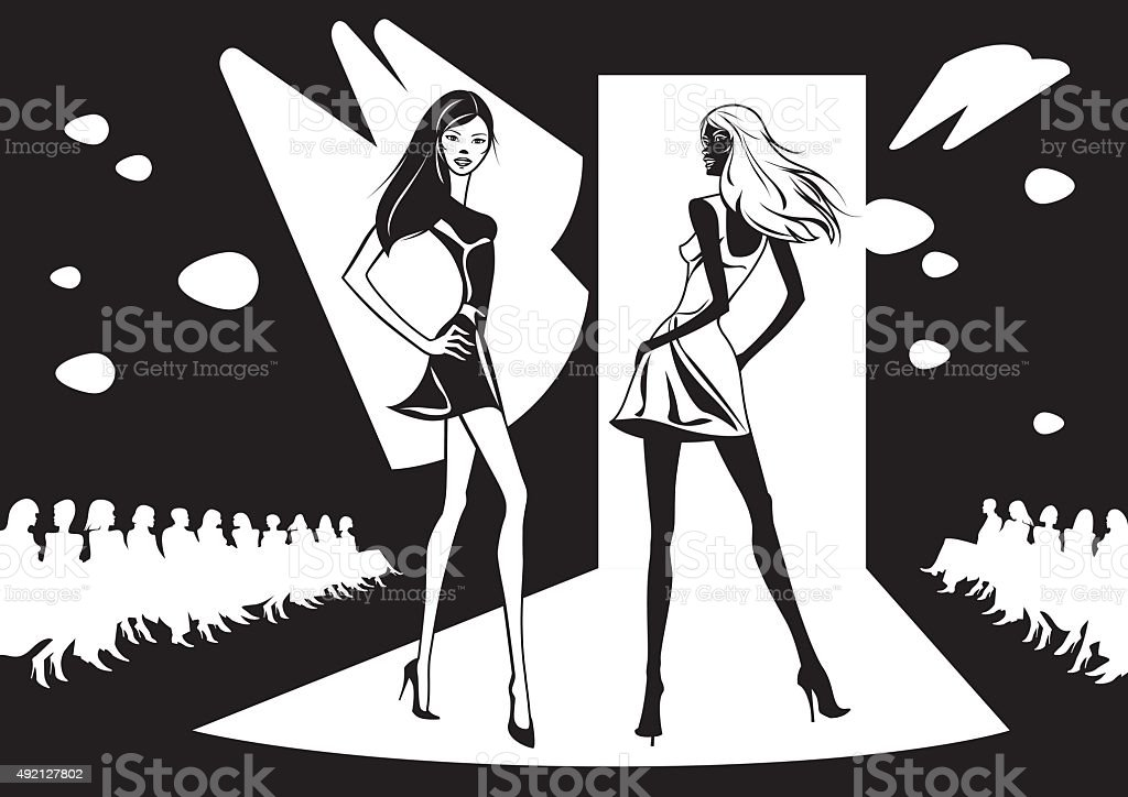 Two fashion models represent new clothes vector art illustration