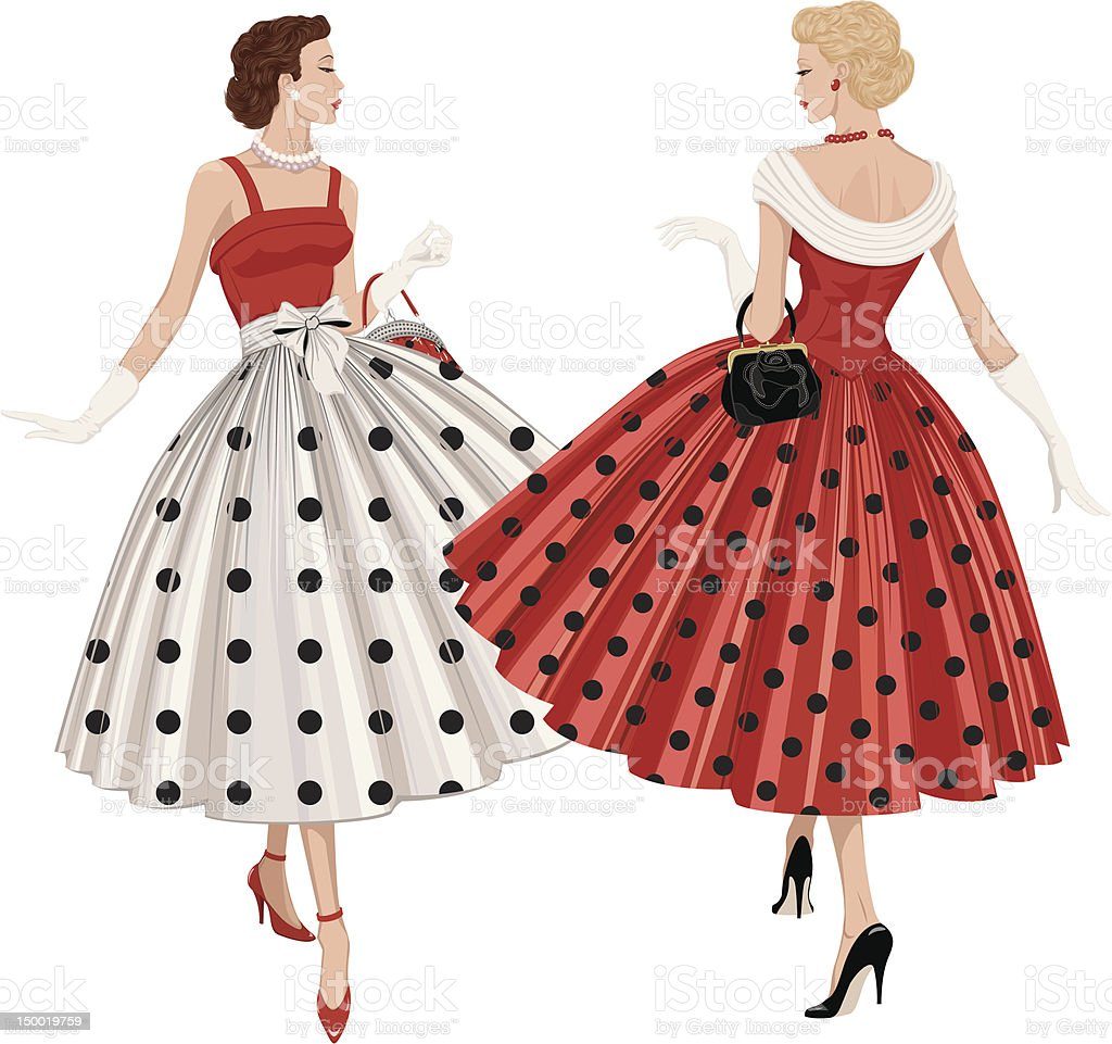 Two fashion women vector art illustration