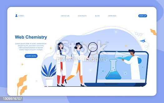 istock Two female characters are studying chemistry online on webinar or course 1309976707