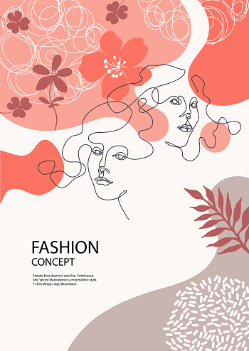 Two Female Faces Drawn In One Line Silhouettes Of Flowers Fashion Concept Stock Illustration Download Image Now Istock