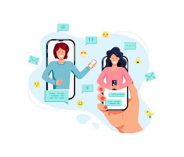 illustrazioni stock, clip art, cartoni animati e icone di tendenza di two female persons are chatting on mobile phones. - woman chat video mobile phone