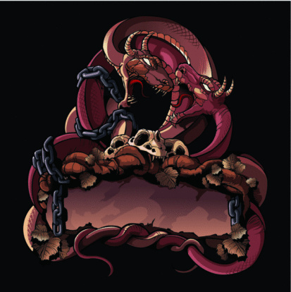 Two fighting dragons: Ornate design element.