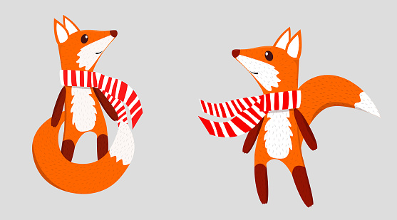 Two figures of cartoon cute foxes in a red and white striped scarf. For winter design of cups, plates, other dishes, notebooks, t-shirts. Winter holiday design element