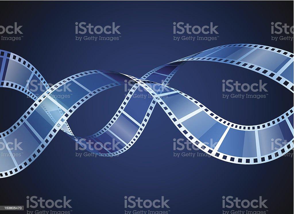 Two film strips on blue background vector art illustration