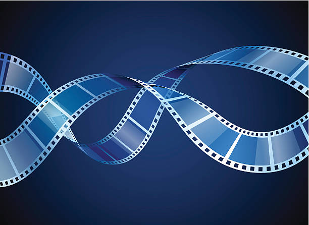 Two film strips on blue background background with waving film strip, EPS 10 undressing stock illustrations