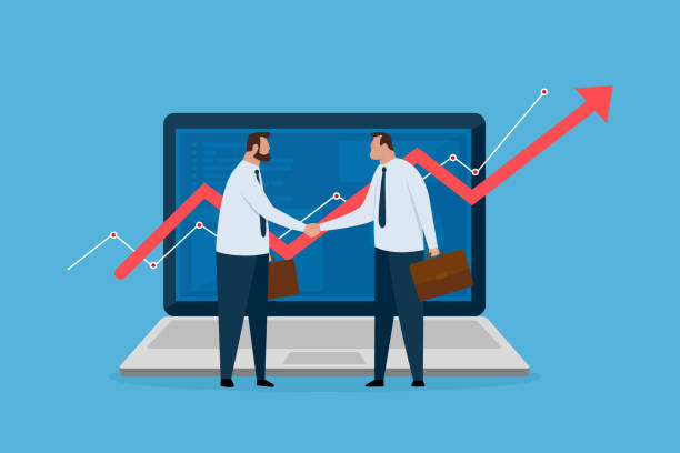 Two financial broker made deal. Laptop with growth charts. Stock market exchange concept. vector art illustration