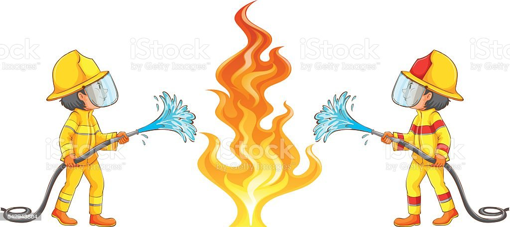two firemen putting out the fire stock vector art more images of