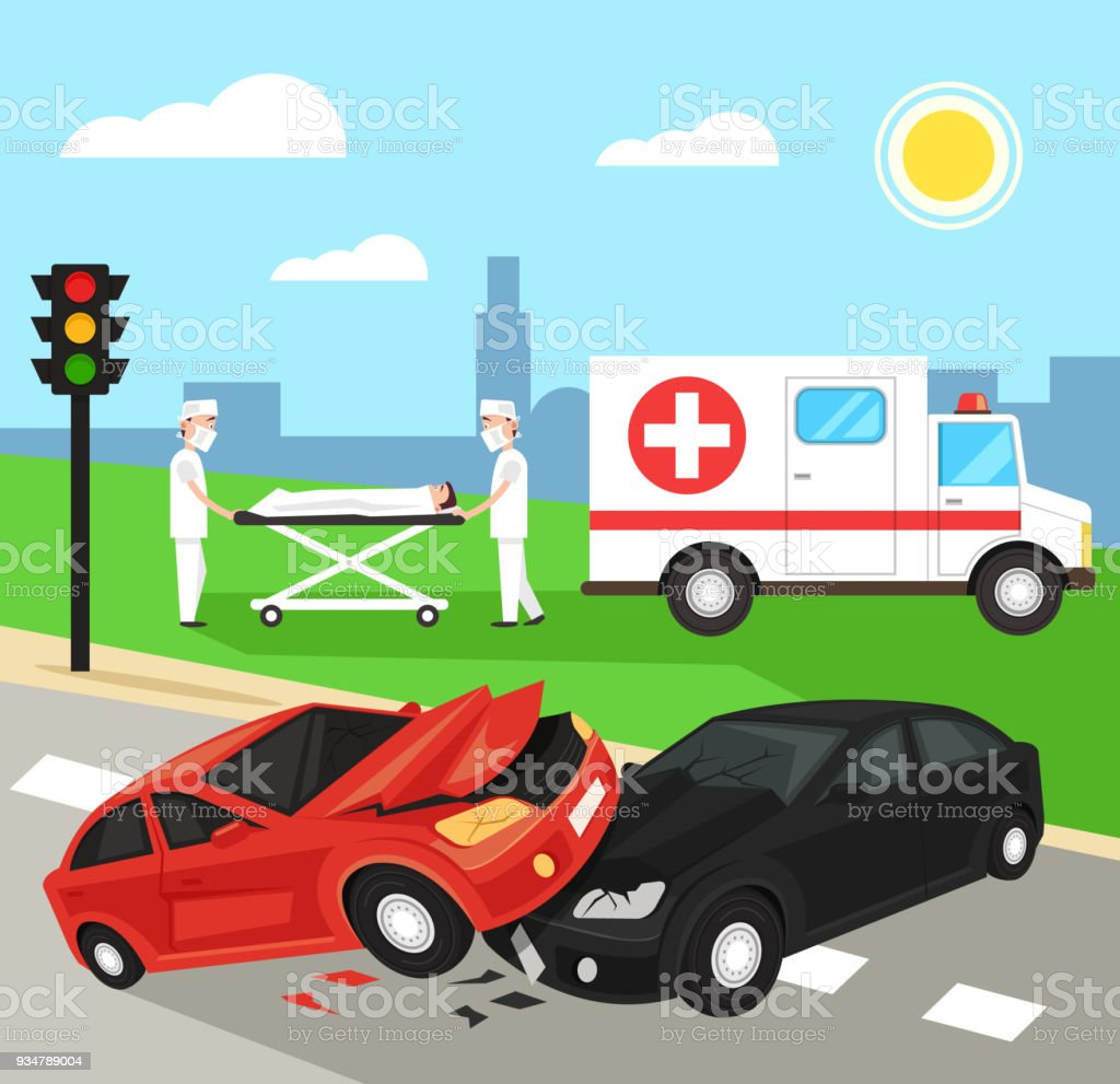 Two first aid doctors carry the victim patient on stretchers after car road accident disaster. Ambulance emergency medicine hospital car. Automobile crash damage drunk driver concept vector art illustration