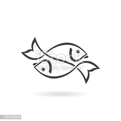 istock Two fish icon 1204762049