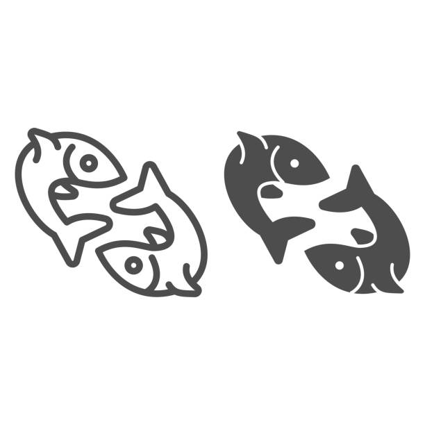 ilustraciones, imágenes clip art, dibujos animados e iconos de stock de dos líneas de pescado e icono sólido, concepto de pesca, par de signos de pescado sobre fondo blanco, icono de emblema de pez gemelo en estilo de esquema para el concepto móvil y el diseño web. gráficos vectoriales. - yin yang symbol