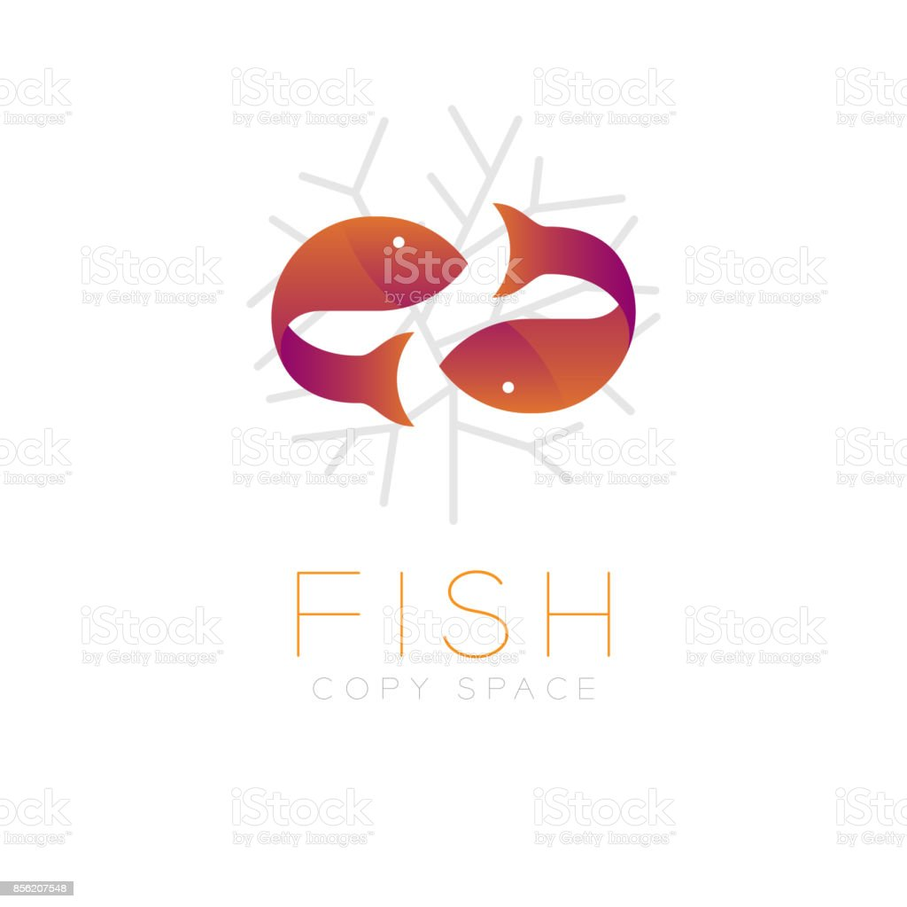 Two Fish Or Pisces Symbol Icon And Coral Set Orange Violet Gradient