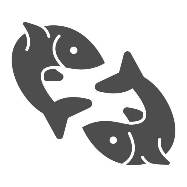 ilustraciones, imágenes clip art, dibujos animados e iconos de stock de dos iconos sólidos de pescado, concepto de pesca, par de signo de pescado sobre fondo blanco, icono de emblema de pez gemelo en estilo glifo para el concepto móvil y el diseño web. gráficos vectoriales. - yin yang symbol