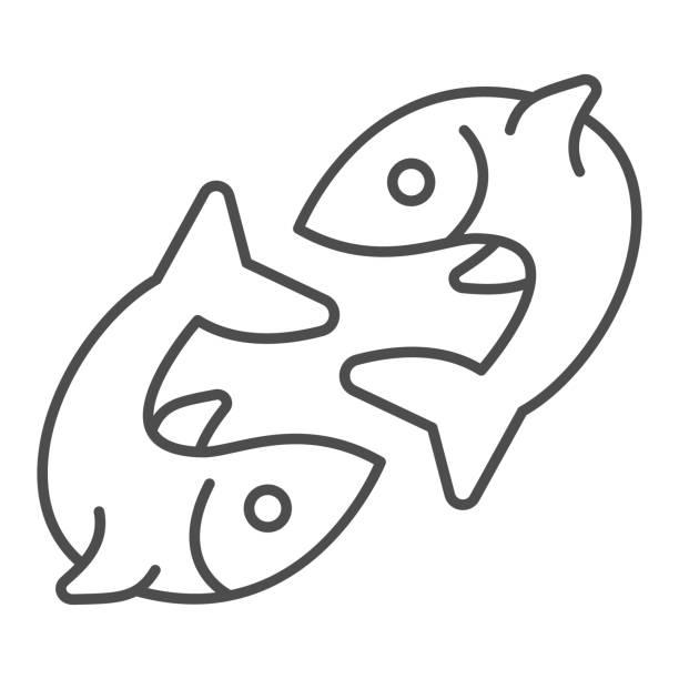 ilustraciones, imágenes clip art, dibujos animados e iconos de stock de dos peces icono de línea delgada, concepto de pesca, par de signo de pescado sobre fondo blanco, icono de emblema de pez gemelo en estilo de esquema para el concepto móvil y el diseño web. gráficos vectoriales. - yin yang symbol