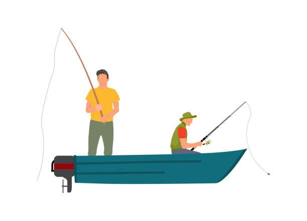dwóch rybaków z wędkami na motorówce - rybactwo stock illustrations