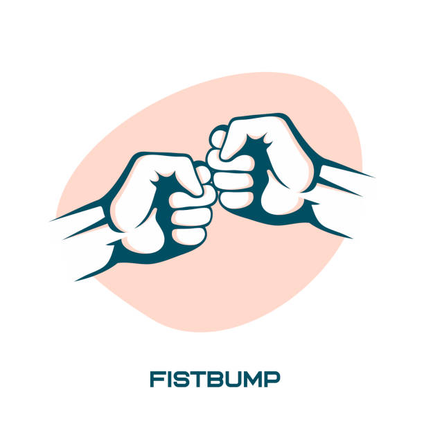 Two fists bumping together vector illustration, two hands with fists. vector art illustration