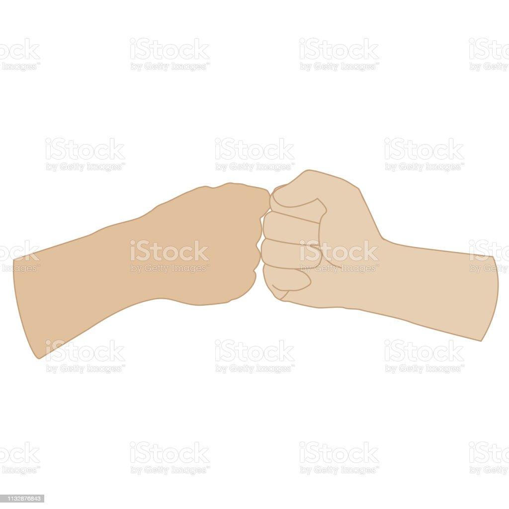 Two Fists Together Vector - ilustração de arte vetorial