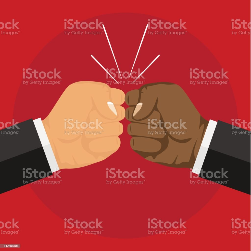 Two fists. Two fists hit each other. vector art illustration