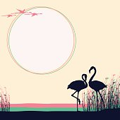 Two Flamingos in the wild.  The Size of illustration is 400x400 mm. Eps 10. Square orientation.