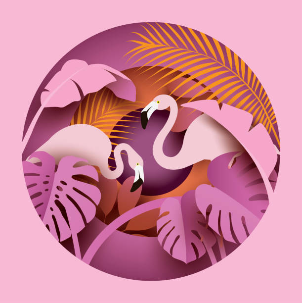 two flamingos in tropical leaves. - animals background stock illustrations