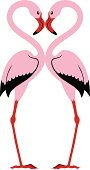 Illustration of two flamingos in love isolated on white.