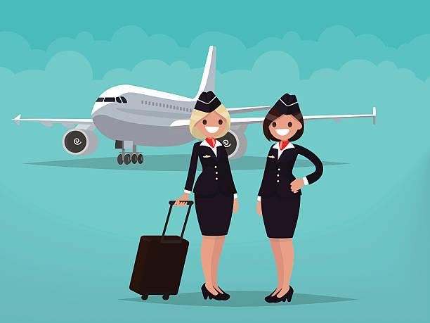 stockillustraties, clipart, cartoons en iconen met two flight attendants against the backdrop of civil aircraft - stewardess