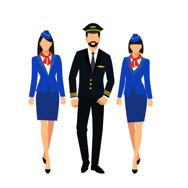 illustrazioni stock, clip art, cartoni animati e icone di tendenza di two flight attendants and a pilot isolated on a white background. - organizzatore della festa