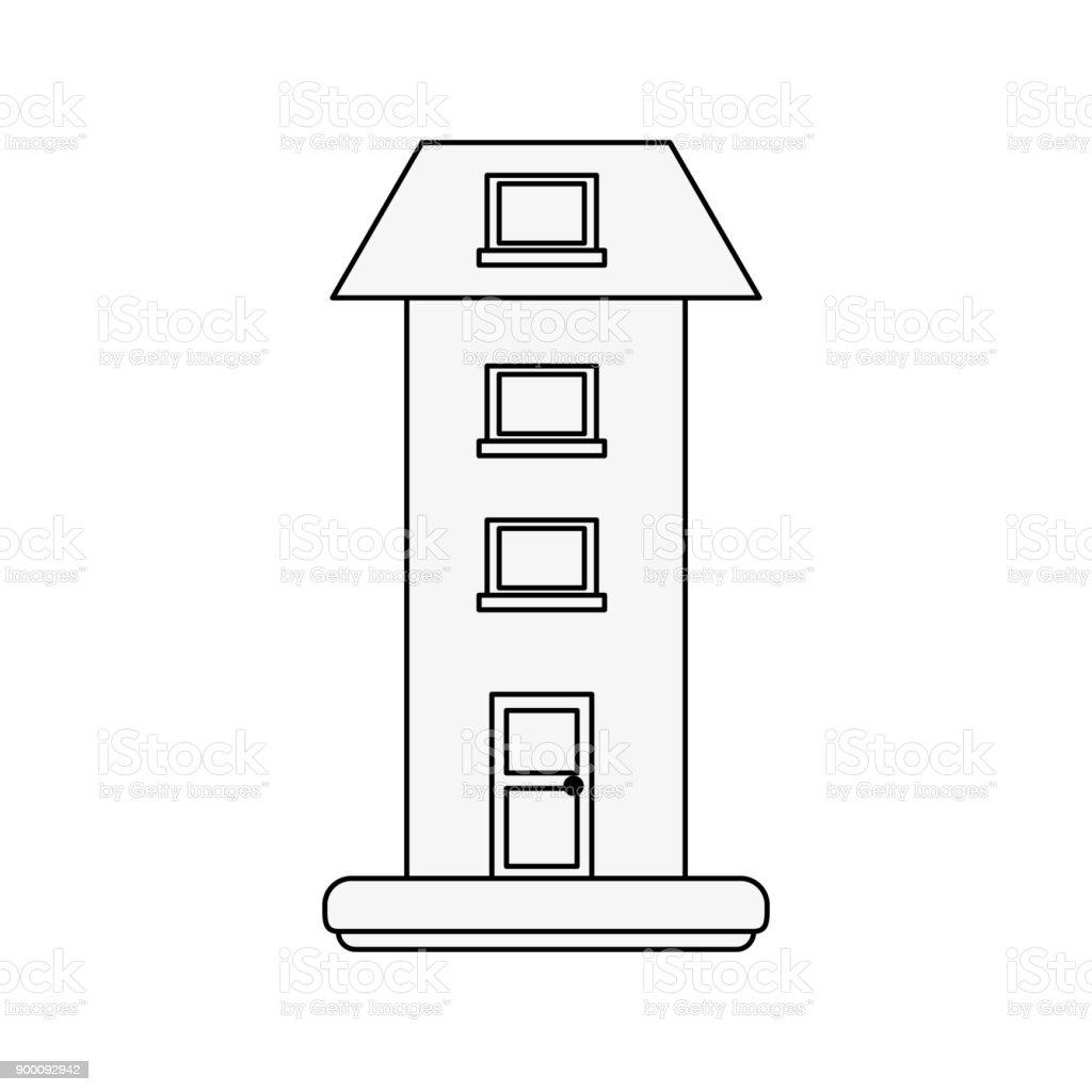 Two floors house vector art illustration